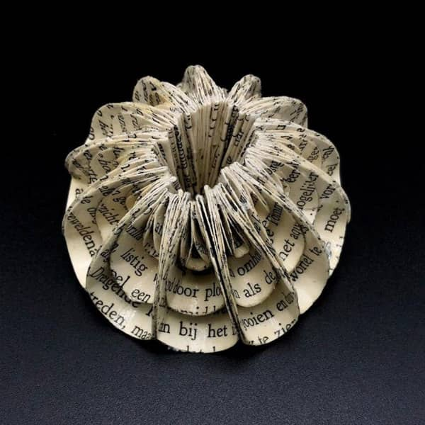 circular folded book pages brooch