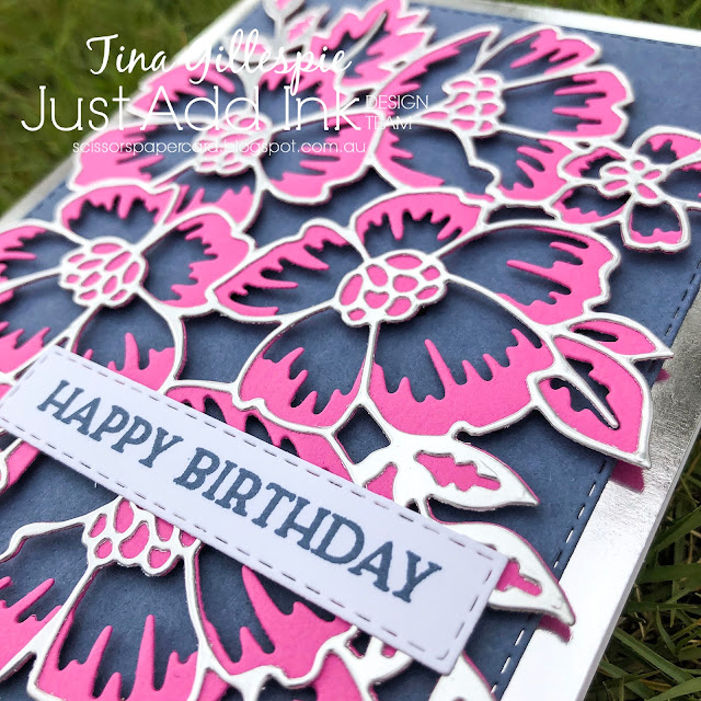 scissorspapercard, Stampin' Up!, Just Add Ink, Blossoms In Bloom, Many Layered Blossoms Dies, Stitched Rectangles Dies,