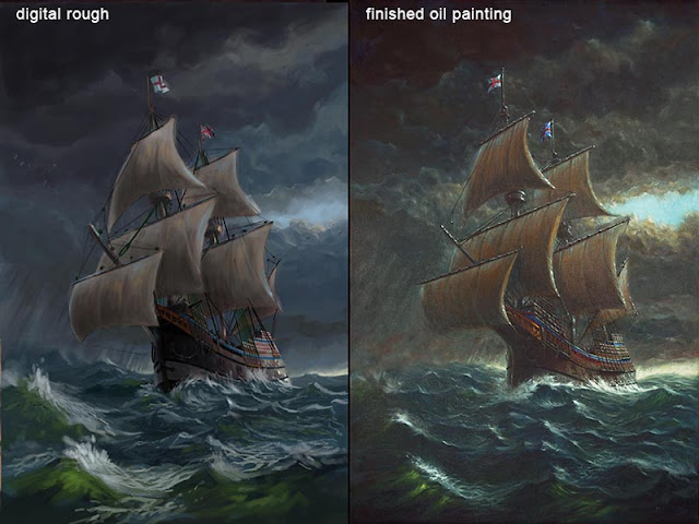 M P Davey mayflower concept art to final oil painting