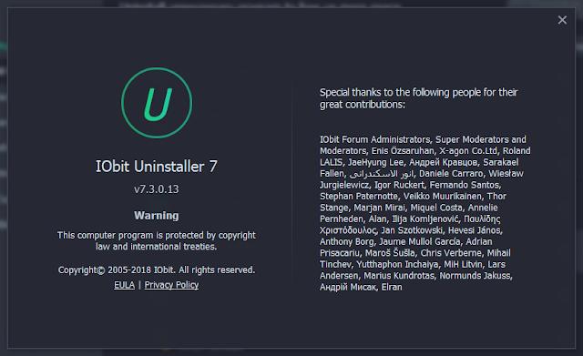 IObit Uninstaller Pro 7.3 PRO License Key Update 2018