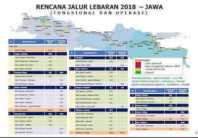 Jalur Jalan Mudik Lebaran tahun 2018 Pulau Jawa. Sumber : PUPR.