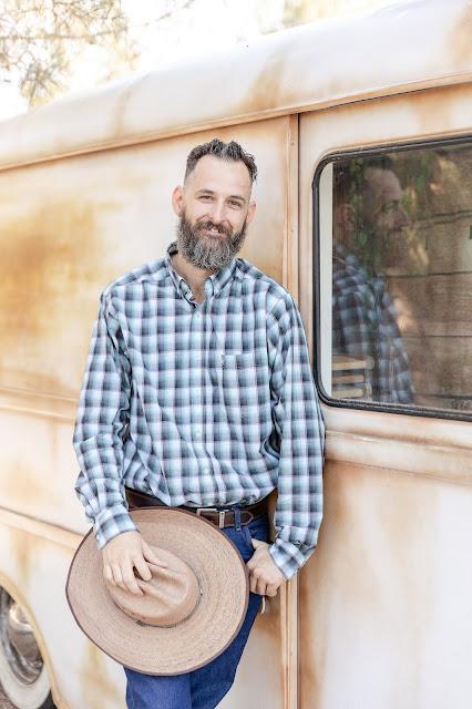 groom portrait with vintage international metro van