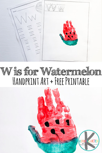 W is for Watermelon Craft \u2013 Kindergarten Worksheets and Games