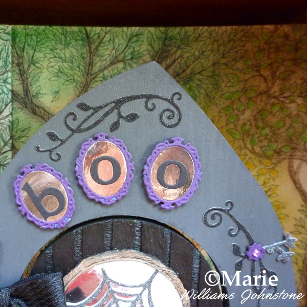 Decorating the Fairy Halloween Door Surround BOO text die cuts altered art witch