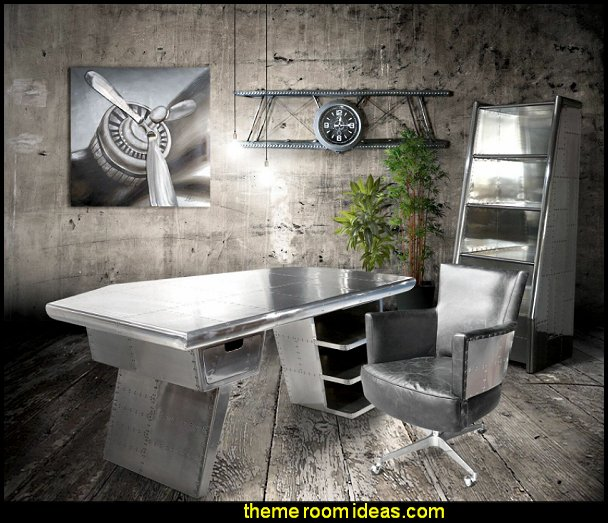 Aviator Executive Desk  Aviator Mid-Century Modern furniture aviation themed