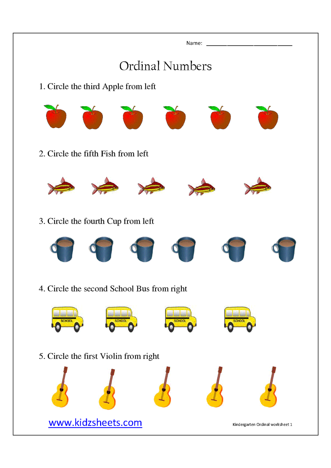 Ordinal Numbers Worksheet Kindergarten Free Worksheets ...
