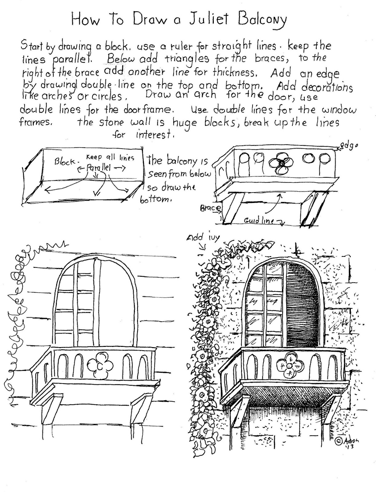 How To Draw Worksheets For The Young Artist How To Draw A Balcony Worksheet