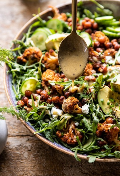 Roasted Cauliflower Salad with Creamy Honey Mustard Vinaigrette