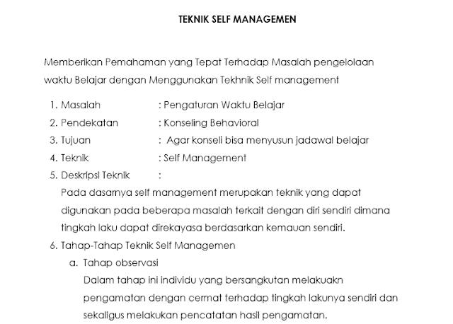 Teknik Self Managemen Dalam Konseling Behavioristik