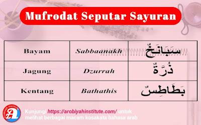 bahasa arab sayuran