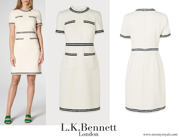 Princess Sofia wore LK BENNETT Susanna Cream Blue Cotton Dress