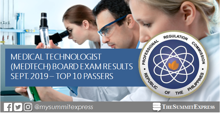 RESULT: September 2019 Medical Technologist (Medtech) board exam top 10 passers