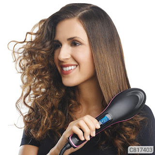 in 1 Straightening LCD Screen with Temperature Control Display Hair Straightener Brush