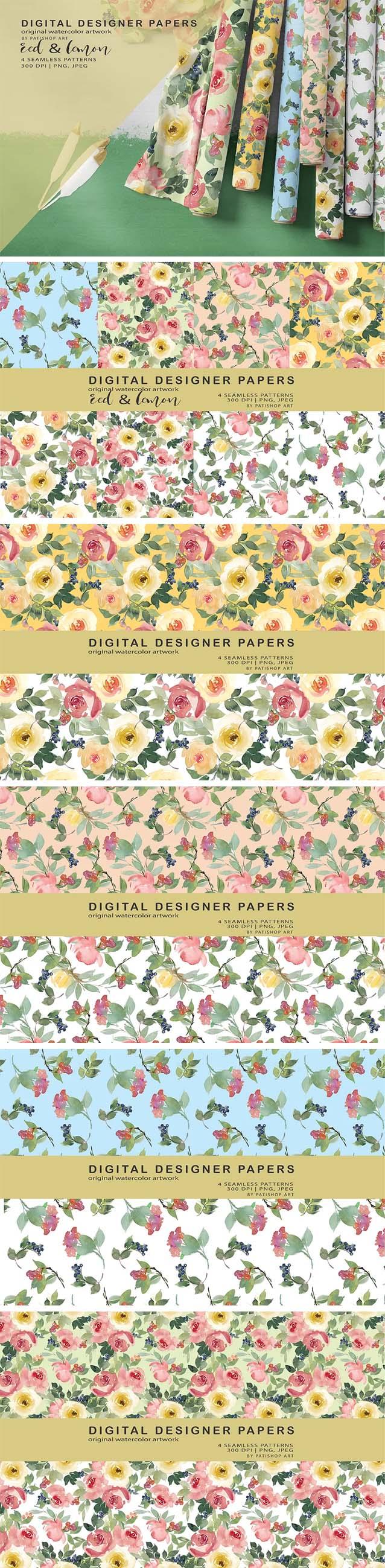 Red and Lemon Watercolor Floral Digital Paper