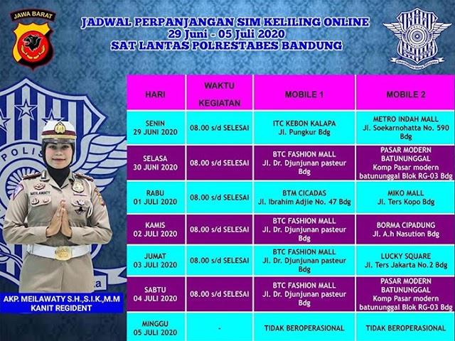Jadwal Layanan SIM Keliling Polrestabes Bandung Bulan Juli 2020