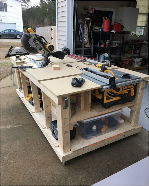 garage workbench ideas with table saw