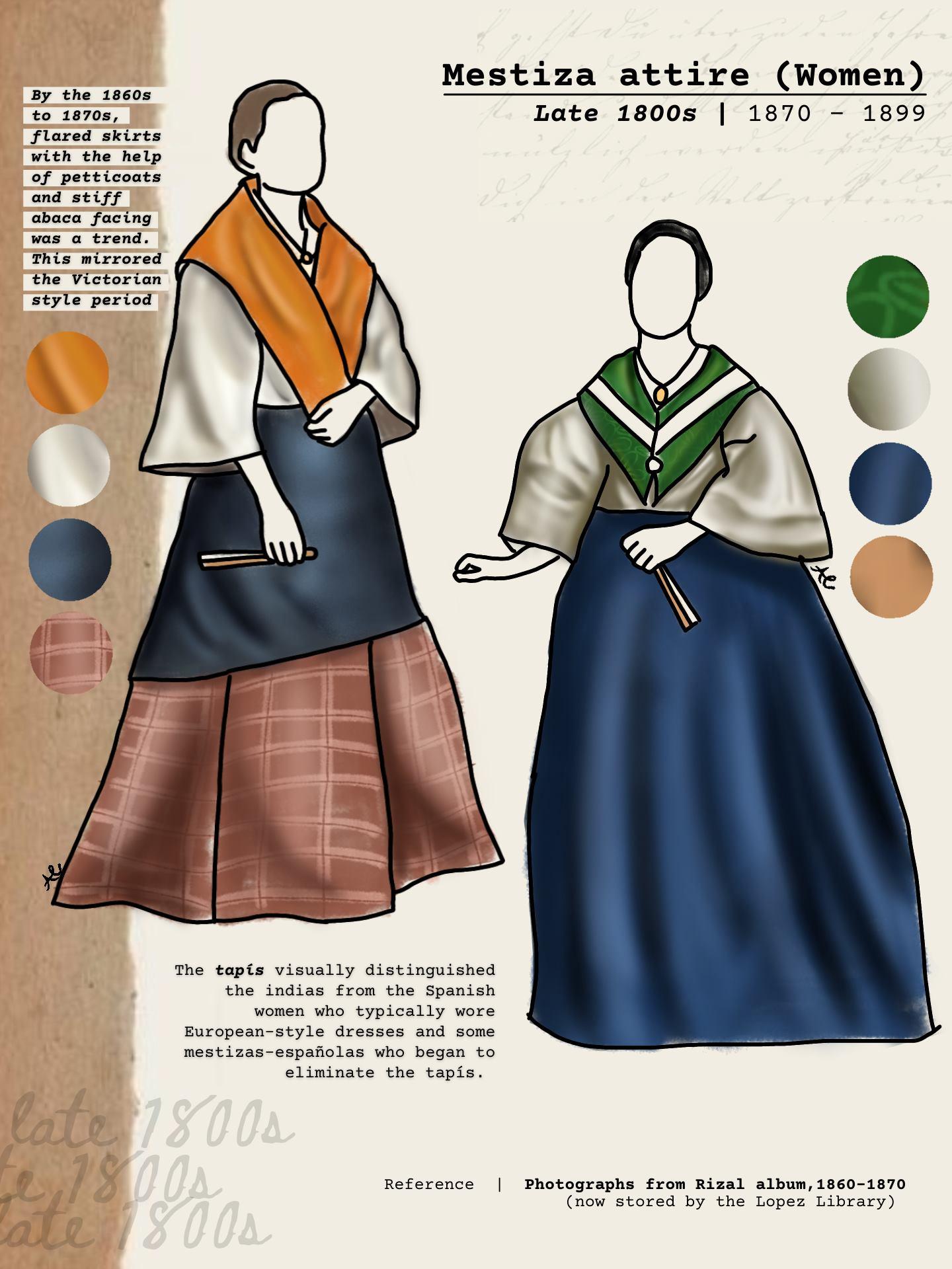 Mestiza attire, late 1800s