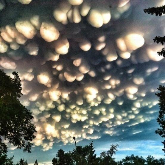 A rare cloud formation called a mammatus in Regina, Saskatchewan.