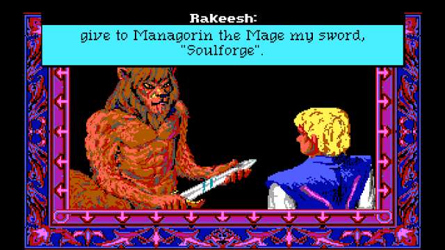 Screenshot of Rakeesh giving Soulforge to wizard hero in Quest for Glory II
