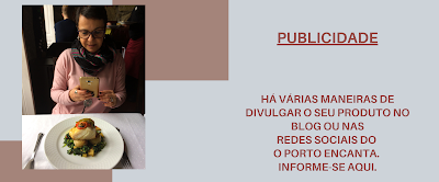 Banner de publicidade de produtos e serviços no o Porto encanta