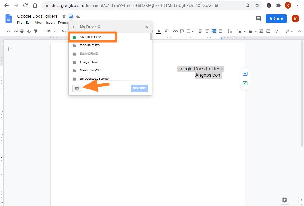 google docs folders