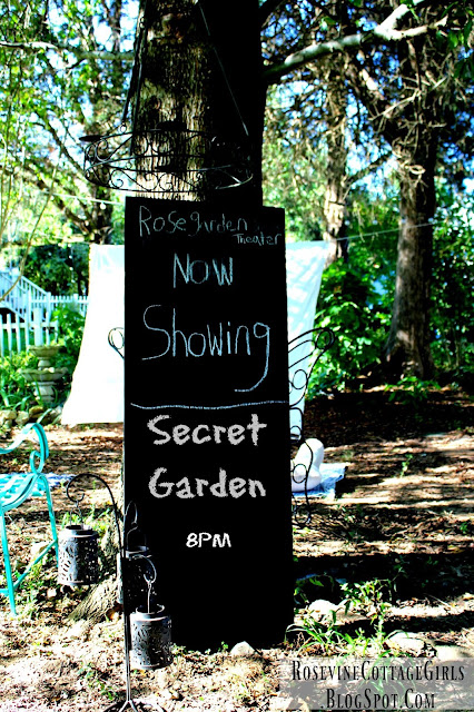 Backyard theater sign