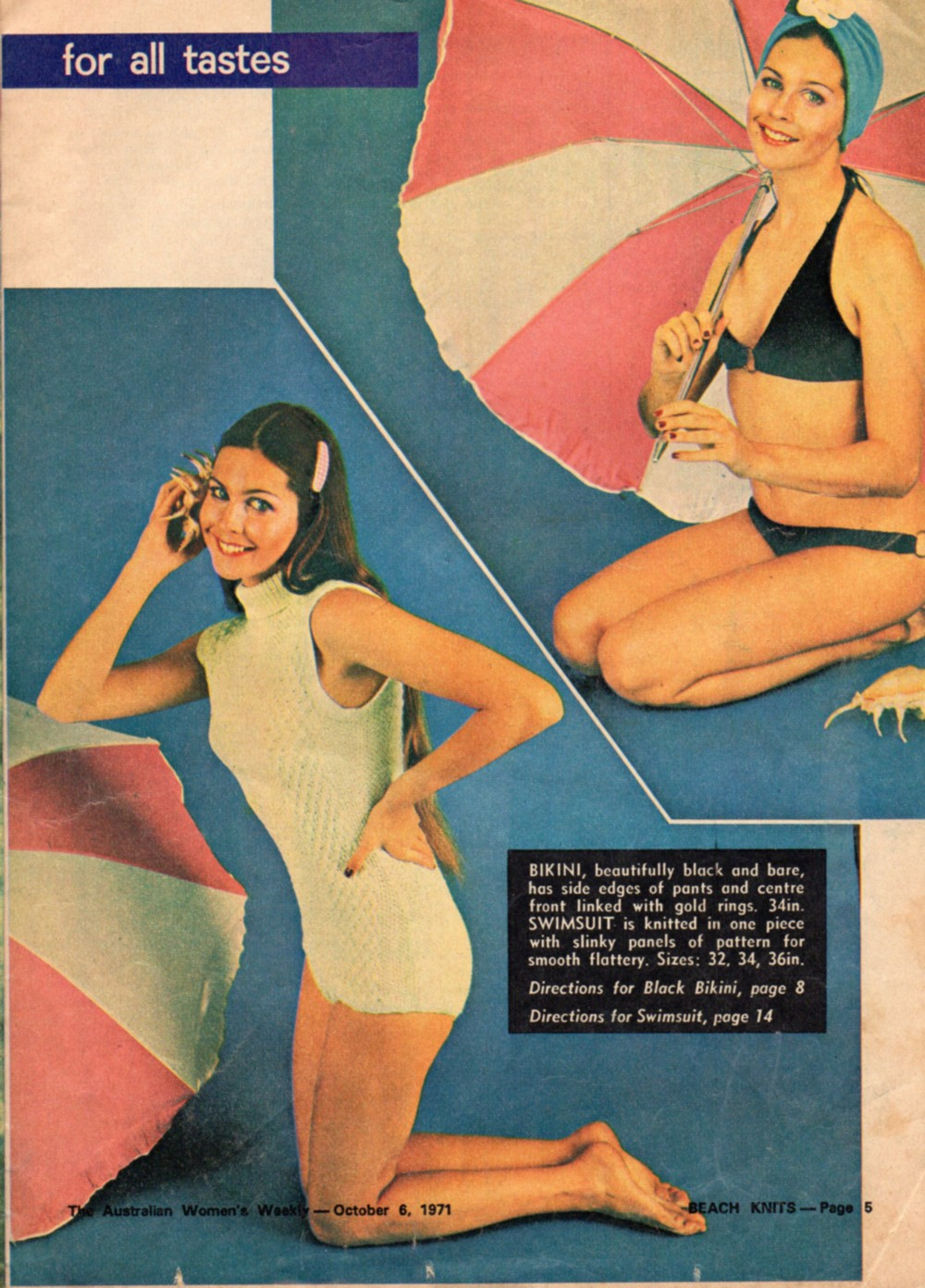 katiecrackernuts.blogspot.com.au || knit and crochet swimwear from Womens Weekly 1970s