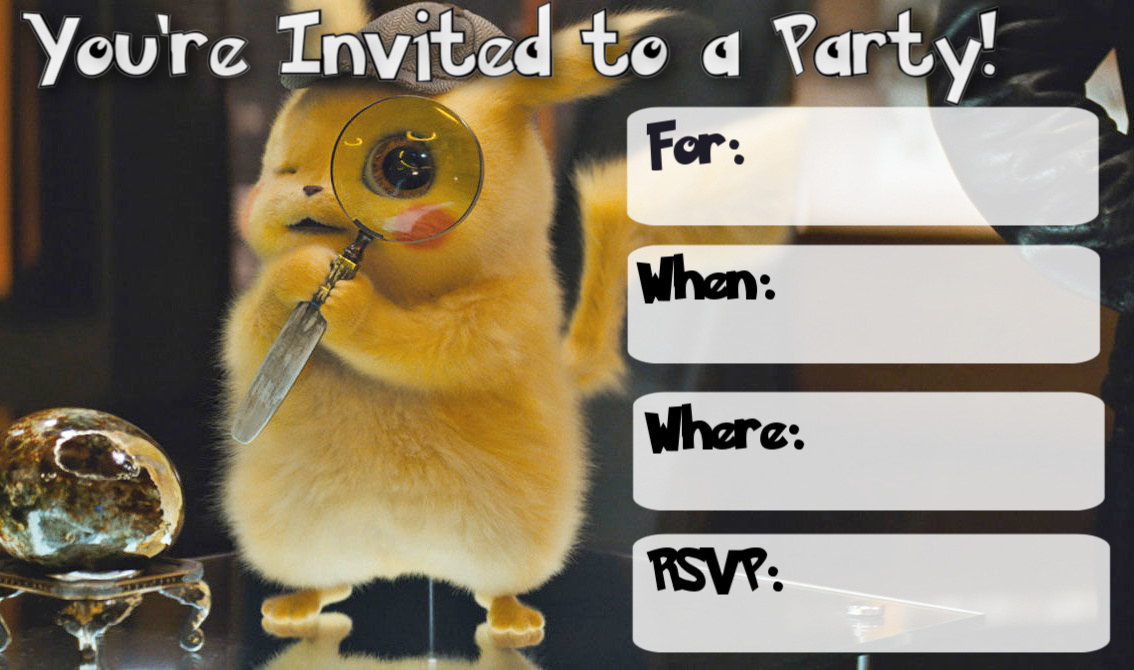 free detective pikachu invitations