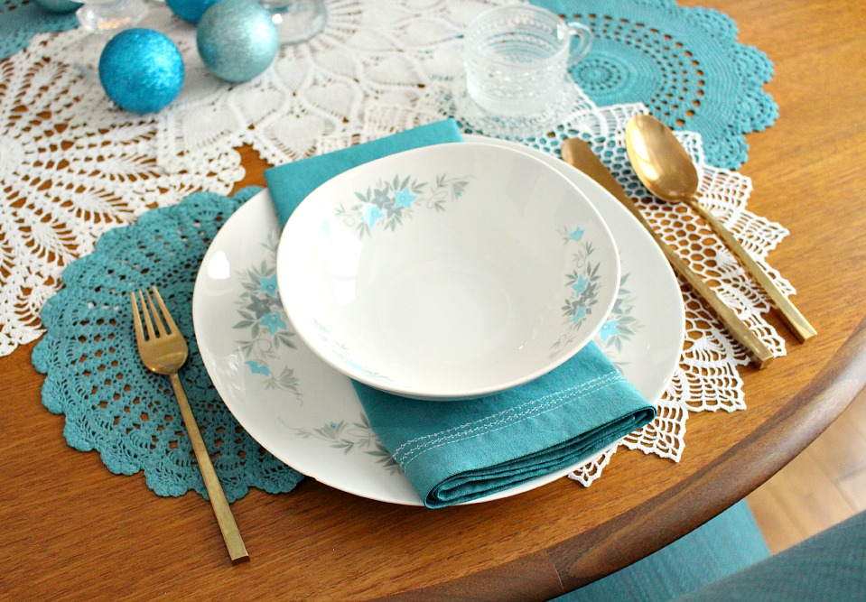 Teal and white table setting for the holidays