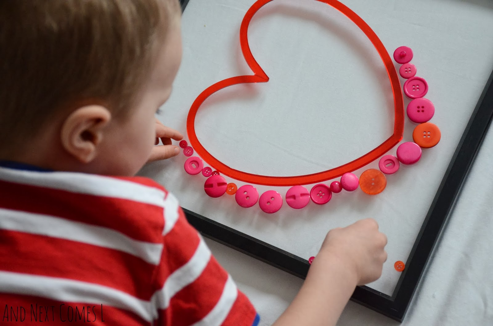 Loose parts play idea for Valentine's Day