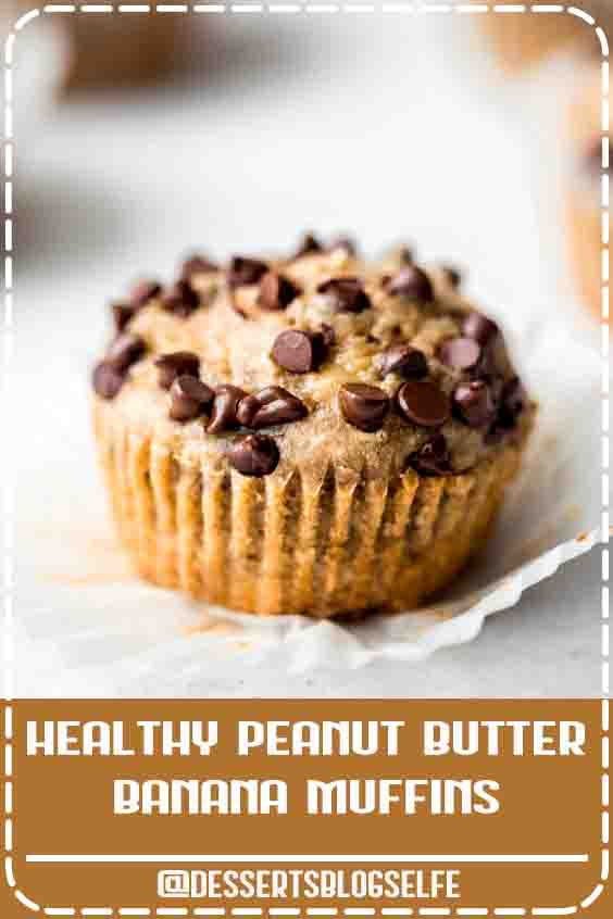 The BEST peanut butter banana muffins that are packed with protein and peanut butter flavor. Naturally sweetened with pure maple syrup, gluten free thanks to oat flour and a great on-the-go healthy breakfast or snack. Try them with mini chocolate chips! #DessertsBlogSelfe #glutenfree #glutenfreesnack #dairyfree #kidfriendly #kidfood #muffins #muffinrecipe #peanutbutter #healthysnack #HealthyDesserts