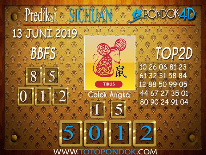 Prediksi Togel SICHUAN PONDOK4D 13 JUNI 2019