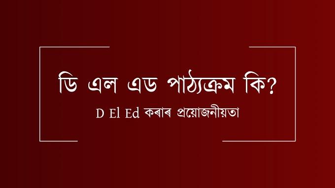 ডি এল এড পাঠ্যক্ৰম কি? D El Ed মানে কি? What is the D El Ed in Assamese?