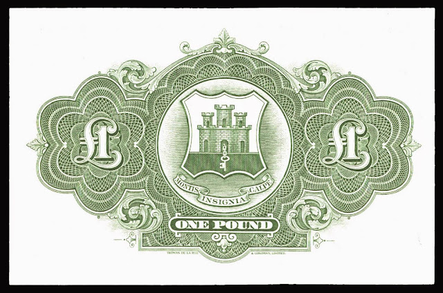 Gibraltar money currency 1 Pound note 1971 Coat of arms of Gibraltar