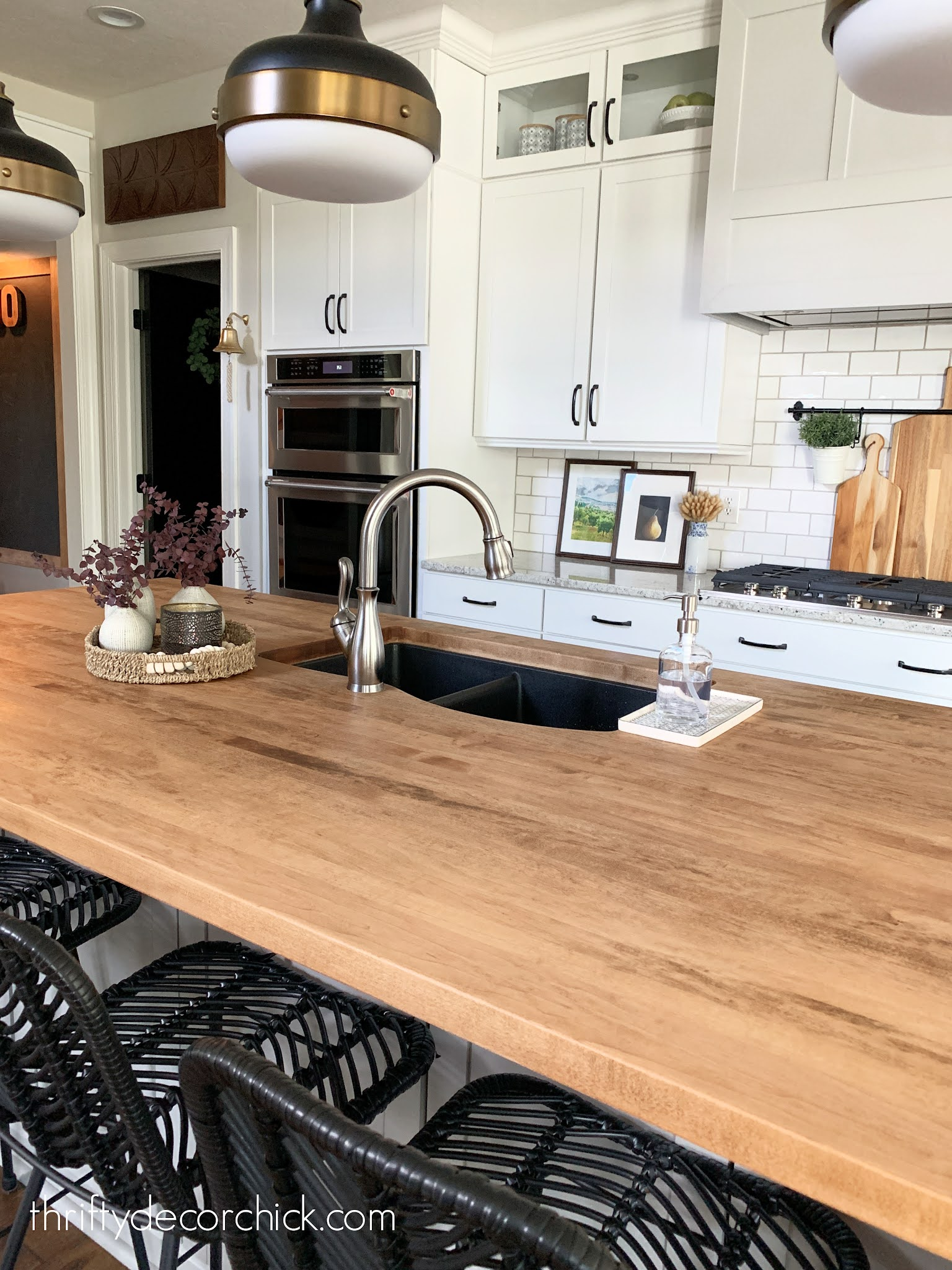 undermount sink in wood counters