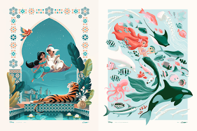 Aladdin & The Little Mermaid Giclee Prints by George Caltsoudas x Bottleneck Gallery x Disney