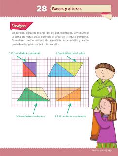 Apoyo Primaria Desafíos Matemáticos 5to. Grado Bloque II Lección 28 Bases y alturas