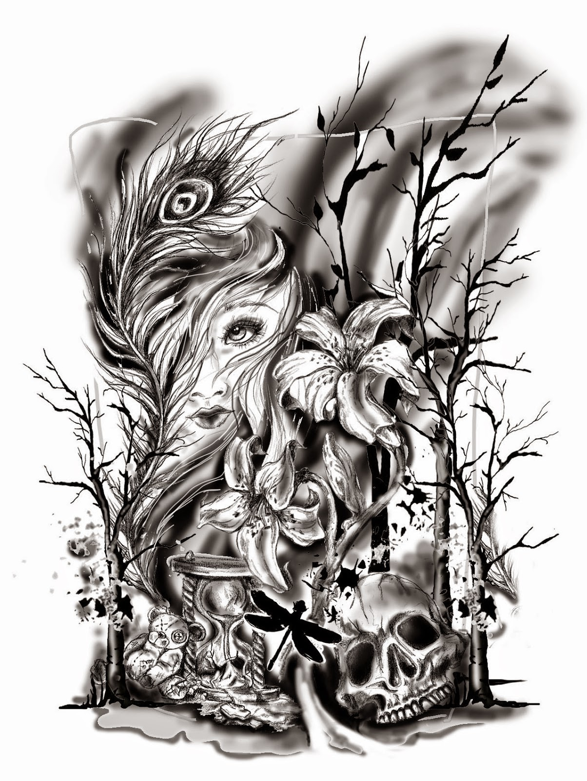 Black And Grey Tattoo Stencil: Pam Vale Art And Design Blog: Custom Half Sleeve Black And