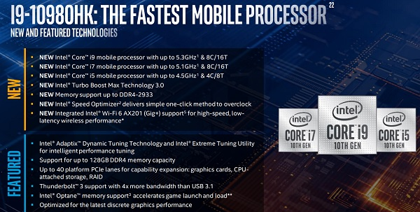 10th Gen Intel® Core™ H-series mobile processors features