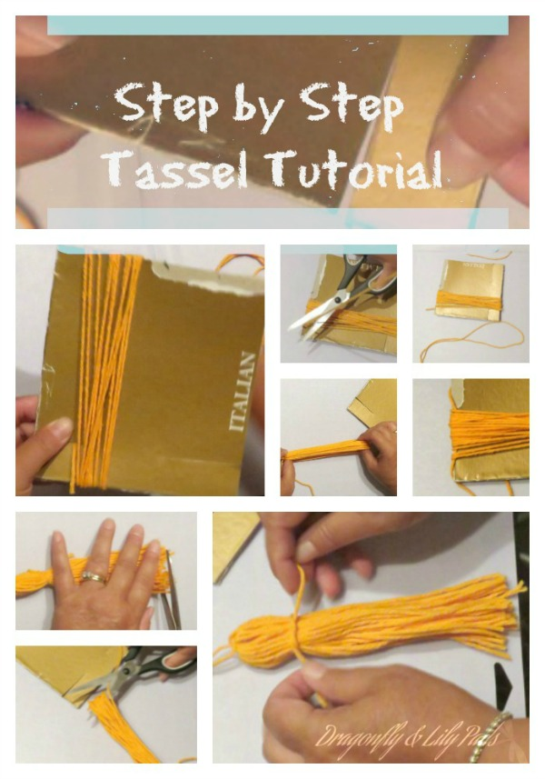 Pinterest Image for Back Pack Tassel Tutorial, Original Dragonfly & Lily Pads