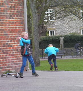 boys playing in park