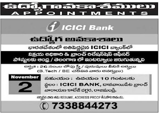 AP, Telangana ICICI Bank Selling Officer, Branch Relationship Officer Jobs 2019 Recruitment Walk-in interview