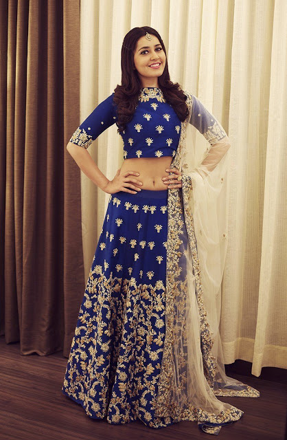 Raashi Khanna in Blue Embroidered Lehenga Stills at South Scope Lifestyle Awards 2016