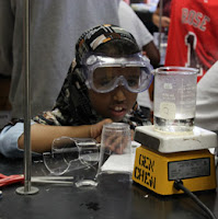 girl in science lab