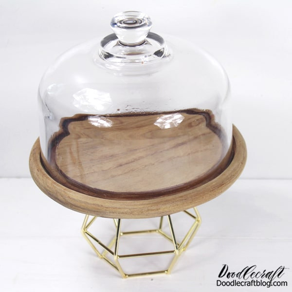 I love the combination of glass, wood and gold! The tea light holders come in packages of 3 from Oriental Trading, so you can also set out candles to match...or make a few more cake stands!