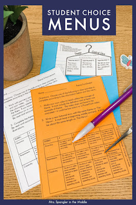 Incorporate more student choice into your ELA lessons by using menus!