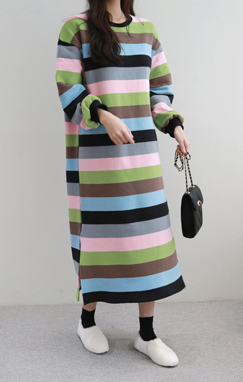 Color-Blocked Striped Dress