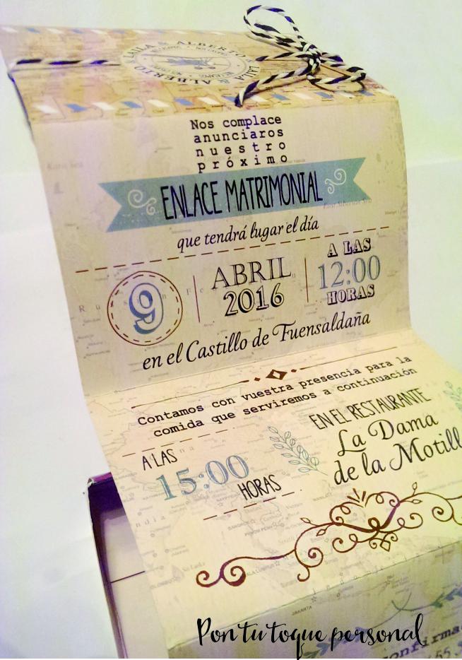 Invitación de boda vintage en forma de maleta