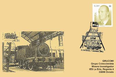 matasellos, filatelia, tarjeta, La Palau, locomotora, Museo de la Minería, El Entrego