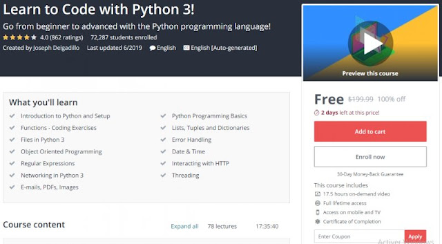 [100% Free] Learn to Code with Python 3!